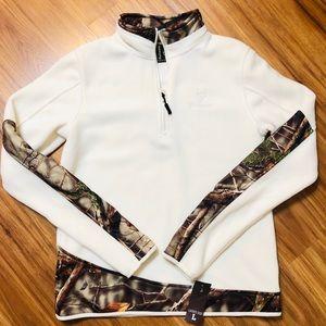 NWT Huntwort Ladies 2-tone fleece 1/4 zip pullover